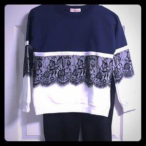 **NWT** Blue white  black lace overlay sz 12/160